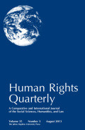Human Rights Quarterly : a comparative and international journal of the social sciences, humanities, and law,Volume 34 Number 1 May 2012
